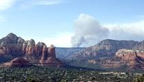 Smoke rises from the Slide Fire as it burns up Oak Creek Canyon in Sedona Arizona on May   The fire has burned approximately  acres  Photo by Ross D Franklin