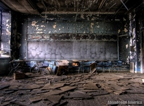 Smokefire damaged classroom in abandoned school
