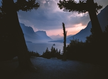 Smoky Sunset Hues over Glacier National Park
