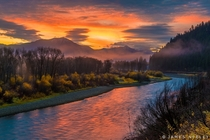 Snake River Sunrise at the South Fork in Swan Valley Idaho by James Neeley