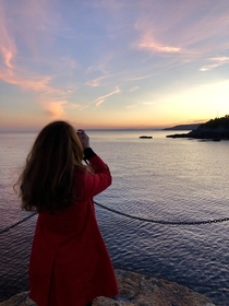 Snapped this photo of my girlfriend in Porthleven Cornwall last night