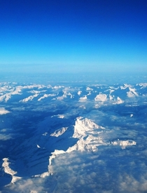 Snapped this picture of the Alps on a flight to Italy