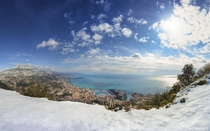 Snow above Monaco in the French Riviera