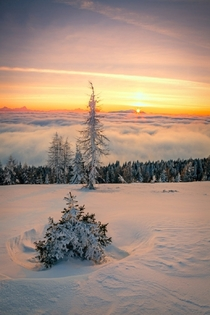 Snow and Clouds in Gerlitzen Austria