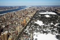 Snow and ice cover Central Park and the Hudson River New York  xpost from rUnitedStatesofAmerica