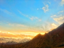 Snow and Sunsets in the mountains Location Ladakh India