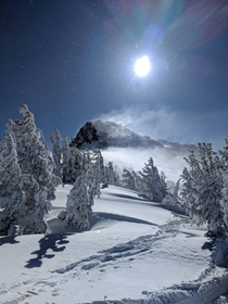 Snow blowing off the top of Mammoth Mountain CA
