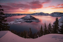 Snow Bunnys View  Crater Lake Oregon bunnycritter tracks in snow at sunrise  ig art_of_adventures