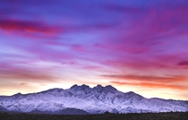 Snow capped Four Peaks during sunrise