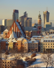 Snow-coated Warsaw