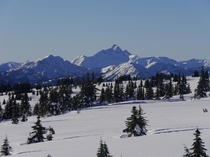 Snow-Covered Alpine Meadow in Manning Provincial Park British Columbia Canada