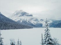 Snow covered Emerald Lake in Yoho National Park BC Canada