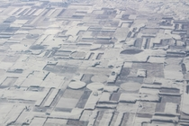 Snow-covered fields illusion midwest USA