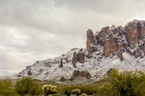 Snow Covered Foothills of Superstition Mountain Arizona