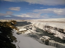 Snow covered Gullfoss Waterfall Iceland in March