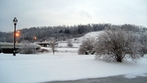 Snow covered hills in Athens Ohio US  OC