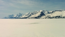 Snow covered Jackson Lake at Grand Teton Park