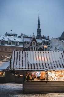 Snow covered market in Latvia