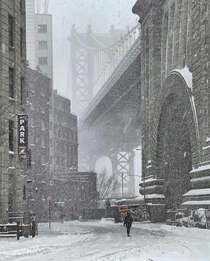 Snow-covered New York City