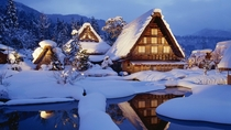 Snow covered rooftops in Shirakawa Japan