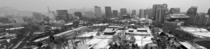 Snow covered scenery of Deoksu Palace and downtown Seoul South Korea