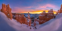Snow Covered Sunrise at Thors Hammer Bryce Canyon National Park Utah
