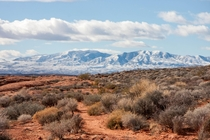 Snow Dusted mountains in the distance Taken on a hike near St George Utah