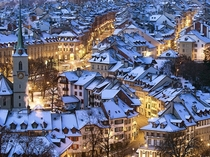 Snow-dusted rooftops in Bern Switzerland Peter Klaunzer