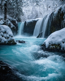Snow Falling at Spirit Falls WA USA