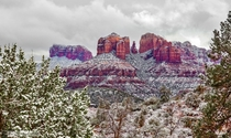 Snow falls on the red rocks of Sedona Arizona  photo by Pat Kofahl