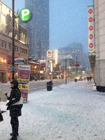 Snow in Yonge amp Dunas Square Toronto
