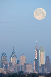 Snow Moon over Philly