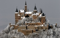 Snow on Hohenzollern Castle  by unknown