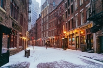 Snow On Stone Street NYC  x-post from rCozyPlaces