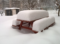 Snow on Table and Bench