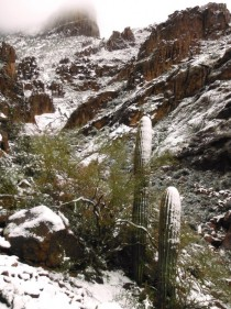 Snow on the Superstition Mountains Az
