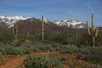 Snow on the Superstition Mountains in Apache Junction AZ USA  OC