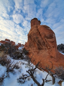Snow stones in Arches National park Utah