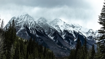 Snow storm hitting the mountains near Wapta Falls Yoho National Park Canada