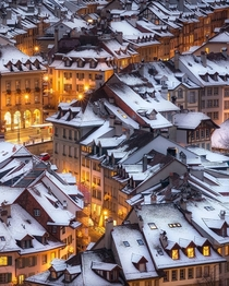 Snow Topped roofs of Bern Switzerland