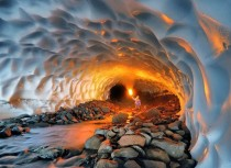 Snow Tunnel formed by melt runoff Russia