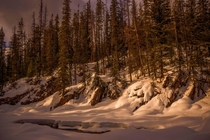 Snowbanks at Natural Bridge in Field BC Canada