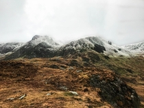 Snowcapped Mountains Cwm Idwal Snowdonia Wales