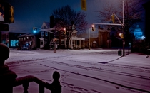 Snowfall in Kingston Ontario Canada