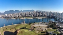 Snowless Vancouver in late January  from a drone