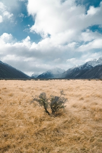 Snowstorm hitting the Mountains of Aoraki Park New Zealand