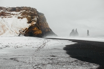 Snowstorm on the black sand beach Vik Iceland