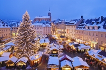 Snowy Christmas market in Bavaria Germany