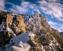 Snowy cliffs in Logan Canyon UT