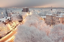 Snowy Dusk in Liverpool United Kingdom